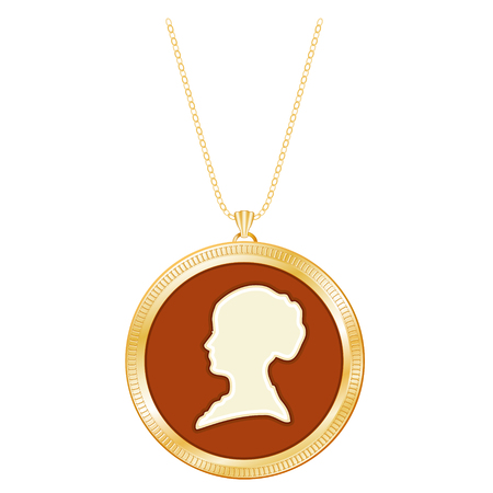 cameo: Gold Cameo Locket, Vintage Gentle Lady, Chain Necklace, Engraved round keepsake, antique silhouette, chain necklace, isolated on white background.