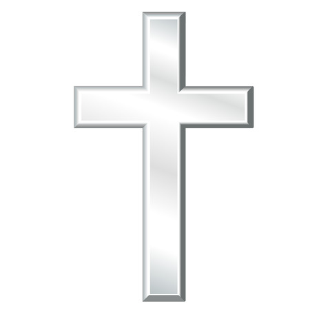 Christian Cross, Symbol of Christianity, silver crucifix, symbol of Christian religion and faith, isolated on a white background. Иллюстрация