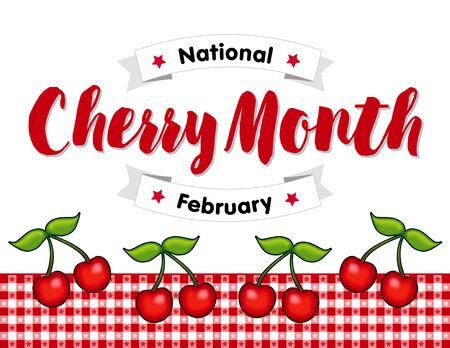 celebrated: Cherry Month, celebrated each February in USA, juicy fruits on red gingham check tablecloth background.