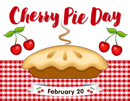 cobbler: Cherry Pie Day, February 20, annual holiday in America, fresh baked sweet fruit dessert treat on red gingham check place mat.