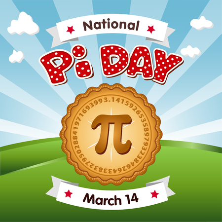 Pi Day, March 14, to celebrate the mathematical constant pi and to eat lots of fresh baked sweet pie, international holiday, red polka dot text, blue sky and clouds background.