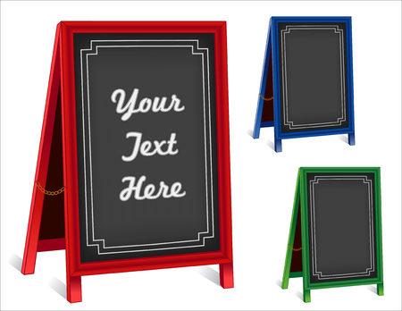 Sidewalk chalk board signs, three folding easels with brass chains, red, green, blue frames, blackboard background with copy space. Ilustração