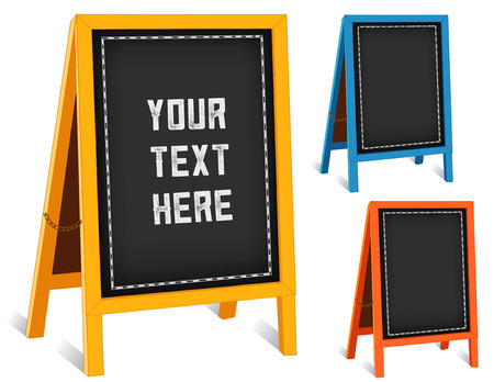 Sidewalk chalk board signs, three folding easels with brass chains, bright frames, blackboard background with copy space.