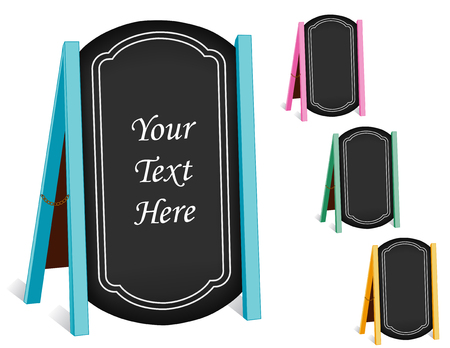 Sidewalk chalk board signs, four folding easels with brass chain, pastel frames, blackboard background with copy space. Ilustração