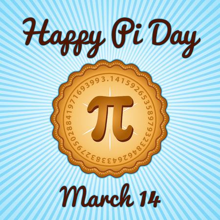 Glücklicher PU-Tag, den 14. März, die mathematische Konstante Pi zu feiern, 3,14, und essen viel frisch gebackenen süßen Kuchen, internationalen Feiertag, blauen Strahlen Hintergrund. Standard-Bild - 67389458