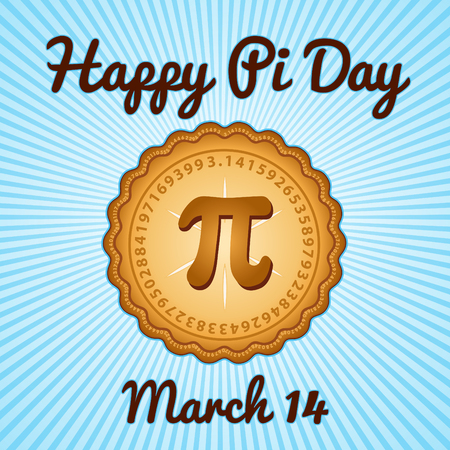 Happy Pi Day, March 14, to celebrate the mathematical constant Pi, 3.14, and eat lots of fresh baked sweet pie, international holiday, blue rays background.