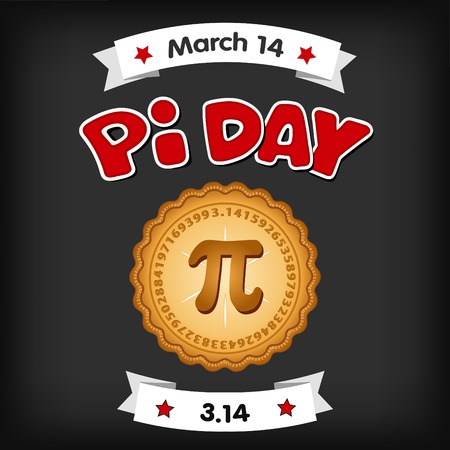 Pi Day, March 14, international holiday to celebrate the mathematical constant Pi, 3.14, and  eat lots of fresh baked sweet pie, red text, chalk board background.