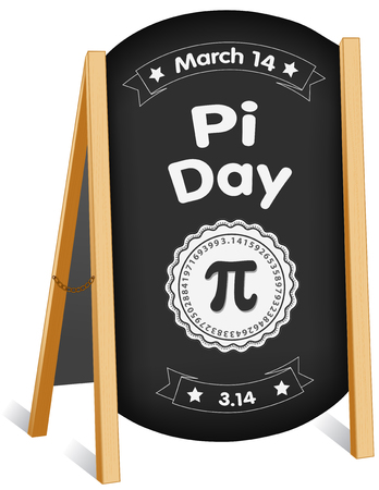 Pi Day, March 14, international holiday to celebrate the mathematical constant Pi, 3.14,  and eat lots of pie, sidewalk chalk board sign, folding easel, brass chain. Ilustração