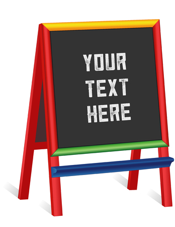 Chalkboard easel, tall multi color wood frame blackboard sign, copy space to customize with your text. EPS8 compatible.