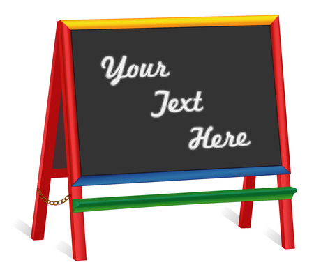Chalkboard easel, wide multi color wood frame blackboard sign, copy space to customize with your text. Ilustração