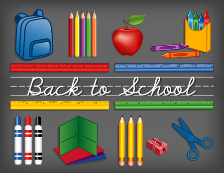 Back to School supplies on chalkboard background, backpack, crayons, pencils, sharpener, markers, folders, scissors, apple for the teacher, cursive script handwriting, penmanship lines. EPS8 compatible. Ilustração