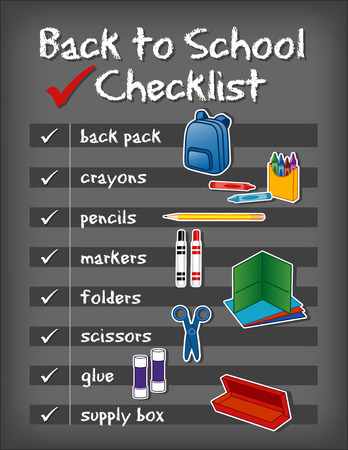 literate: Checklist Back to School supplies, backpack, crayons, pencils, markers, folders, scissors, glue, supply box on chalkboard background. EPS8 compatible. Illustration