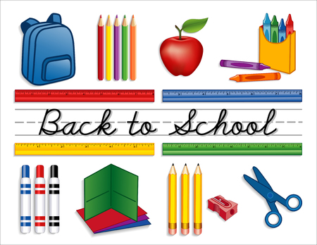 Back to School supplies, backpack, crayons, pencils, sharpener, markers, folders, scissors, apple for the teacher, cursive script handwriting, penmanship lines, isolated on white background. EPS8 compatible.