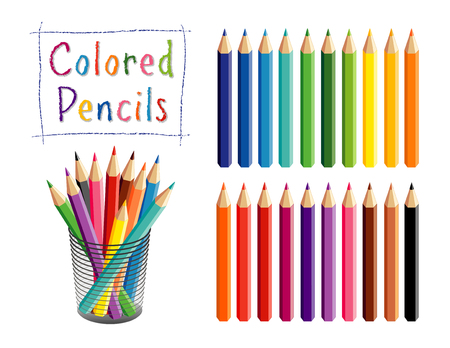 Colored pencils in 20 shades for school, home, office, art and craft projects, scrapbooks in desk organizer. EPS8 compatible. Ilustração