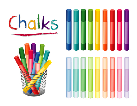 Chalk crayons in 18 rainbow colors, including pastels for home, office, back to school, art and craft projects, scrapbooks in desk organizer. EPS8 compatible. Ilustração