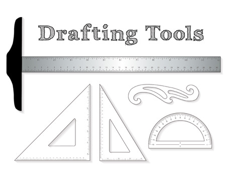 Drafting tools for architecture and engineering: aluminum T-square with inch and centimeter measure, 45 degree triangle, 60 degree triangle, ruler, French Curve and protractor isolated on white background. EPS8 compatible. Ilustração