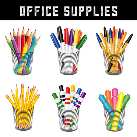Office Supplies, writing and drawing tools in desk organizers for office, home and back to school projects, pencils, pens, felt tip markers, highlighters, colored pencils isolated on white. EPS8 compatible.
