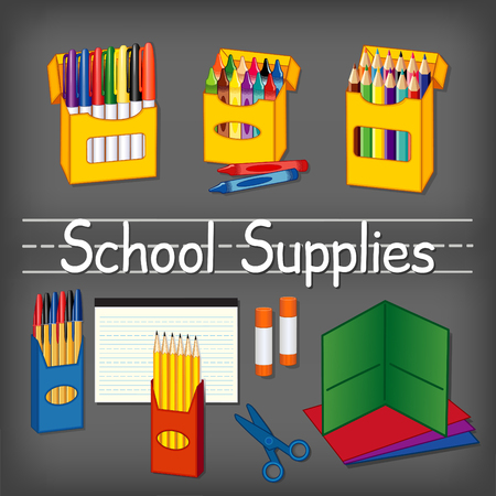 lined paper: School supplies for kindergarten, daycare, back to school, marker pens, wax crayons, colored pencils, ball point pens, lined paper, yellow pencils, glue sticks, scissors, folders on chalkboard background with penmanship text title. Illustration