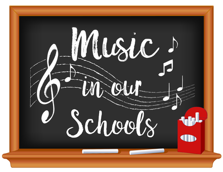 Music in Our Schools Month, March, national holiday to promote and celebrate music in education, box of chalk, treble clef staff, wood frame blackboard. EPS8 compatible. Ilustração