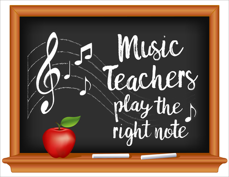 Music Teachers play the right note, treble clef on staff, wood frame blackboard, chalk and apple. March is Music in our schools Month. EPS8 compatible.