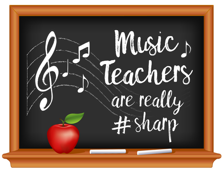 Music Teachers are really # sharp, chalk text, music notes, treble clef on staff, wood frame chalkboard, apple. March is Music Month. EPS8 compatible.
