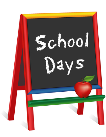 School Days, chalk text on multi color wood easel for children, apple for the Teacher for preschool, daycare, kindergarten, nursery and elementary school. Isolated on white background. EPS8 compatible.