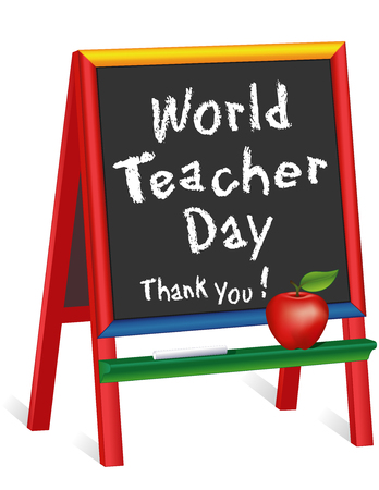 World Teacher Day, observed each year on October 5 in over 100 countries, red apple, thank you on chalkboard multi color wood easel for children for classroom, education and school events. Isolated on white background. EPS8 compatible.