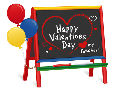Happy Valentines Day, Love my teacher greetings, Hearts and kisses, chalk text on chalkboard with multi color ruler frame, for preschool, daycare, kindergarten, nursery and elementary school. Isolated on white background. EPS8 compatible.