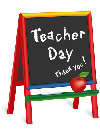 Teacher Day, Thank you! American holiday, Tuesday of 1st full week of May, chalk text on multi color wood easel for children, apple for the Teacher, for preschool, daycare, kindergarten, nursery, elementary school. Isolated on white. EPS8 compatible. Vectores