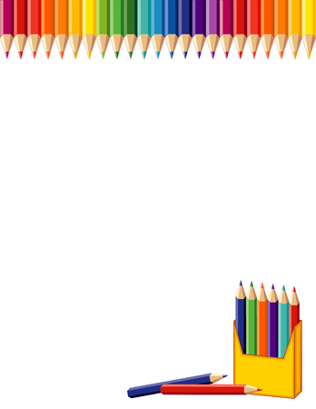 School poster, rainbow border, box of colored pencils. Copy space for back to school announcements, stationery, education, literacy, scrapbook projects. Isolated on white. EPS8 compatible.  Ilustração