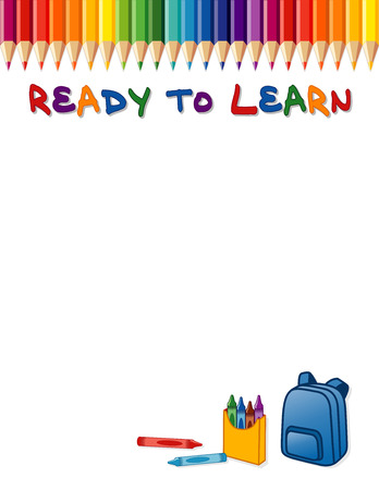 Affiche Ready To Learn, bordure de crayon de couleur arc-en-ciel, crayons de couleur et sac à dos. Espace de copie pour les annonces ou articles de papeterie pour les écoles maternelles, les garderies, les écoles maternelles, primaires et primaires Isolé sur blanc. Compatible EPS8.