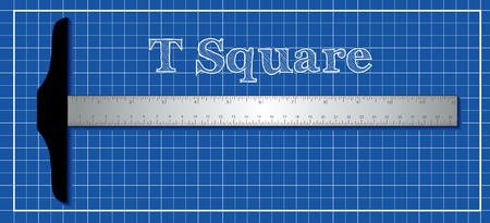 T square drafting tool. Illustration