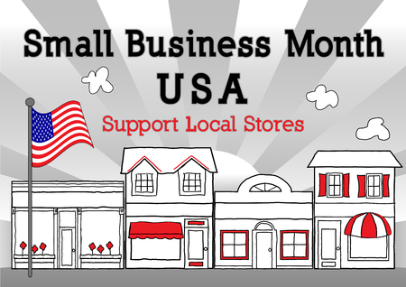 Small Business Month, USA, to advertise American small business neighborhood community stores, shops and entrepreneurs, downtown main street with ray background,  May is Small Business Month in the US. EPS8 compatible.