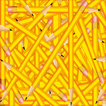 Background of sharpened yellow pencils with erasers, for announcements, posters, stationery, scrapbooks and fliers for back to school, home and office. EPS8 compatible.