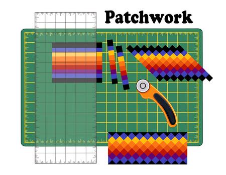 Patchwork DIY, snijmat, quiltersliniaal, roterende bladsnijder, traditioneel strookstukpatroon, reorganiseer stroken in ontwerpen, voor kunst, ambachten, naaien, quilten, doe het zelf-projecten.