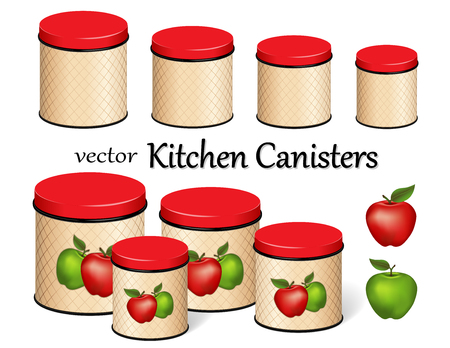 Kitchen food storage canister set, red and green apples, lattice background design, four sizes.