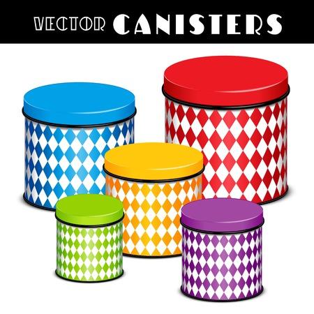 Kitchen food storage canister set, harlequin diamond design, multi color, five sizes.