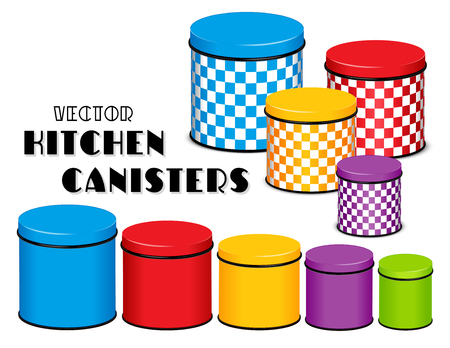 Kitchen food storage canister set, checkerboard design, multi color, five sizes.