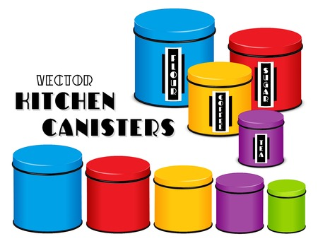 Kitchen food storage canister set, art deco labels, flour, sugar, coffee, tea, multi color, five sizes. Imagens - 92912215