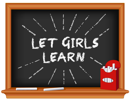 Let girls learn Support school, literacy, and education opportunities for female students worldwide. Box of chalk, chalkboard background. Imagens - 94062193