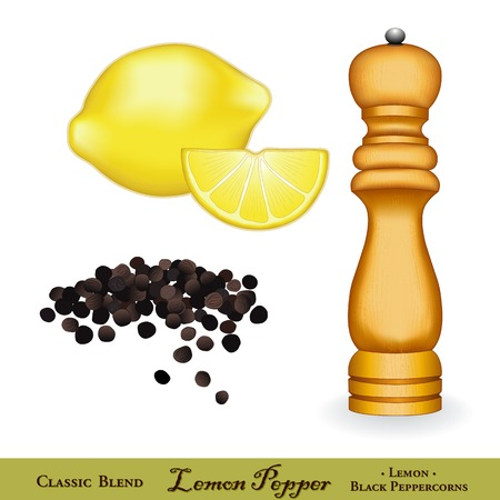 Lemon pepper, lemon zest mixed with cracked black pepper is a classic seasoning for poultry, pasta and seafood. Wood spice mill, whole black peppercorns, fresh lemons. Isolated on white background.