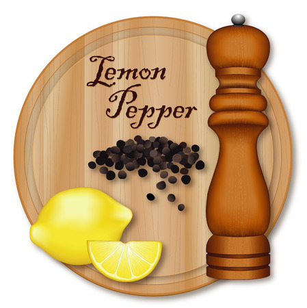 Lemon pepper, popular seasoning made from lemon zest and cracked peppercorns. Lemon and wedge, black peppercorns, dark wood pepper mill, wood cutting board with wood grain detail. Isolated on white background. Иллюстрация