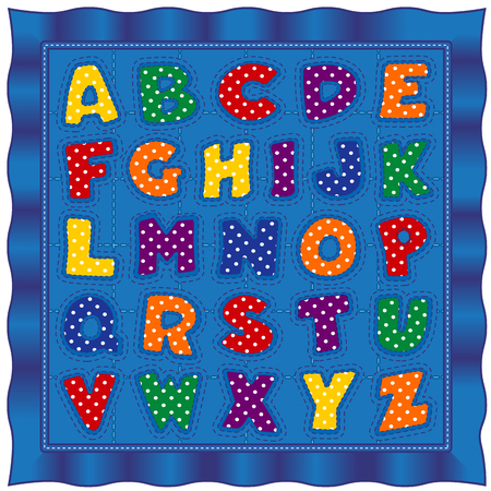 Alphabet Baby Quilt, old fashioned traditional patchwork design pattern with bright polka dot letters, blue satin border. Imagens - 95888266