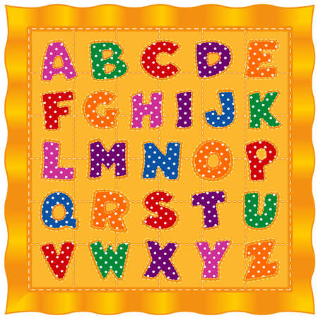 Alphabet Baby Quilt, bright polka dot letters, old fashioned traditional pattern, gold satin border and background.