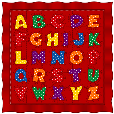Alphabet Baby Quilt, bright polka dot letters, old fashioned traditional pattern, red satin border and background. 向量圖像