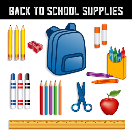 Back to school supplies for elementary, middle school, kindergarten, daycare, preschool.