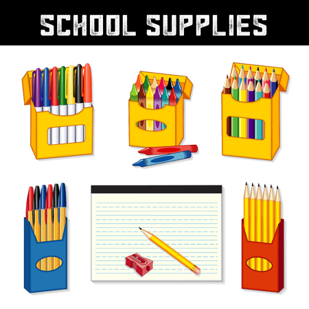 School Supplies for back to school, elementary, middle school, kindergarten, daycare, preschool: marker pens, wax crayons, colored pencils, ball point pens, lined penmanship writing paper, yellow pencils, pencil sharpener, isolated on white background.