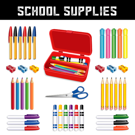 School supplies icon, ball point pens, neon highlighters, pencils, sharpeners, scissors, small tip, large marker pens, pencil box, for elementary, grammar, middle, high school, literacy projects.