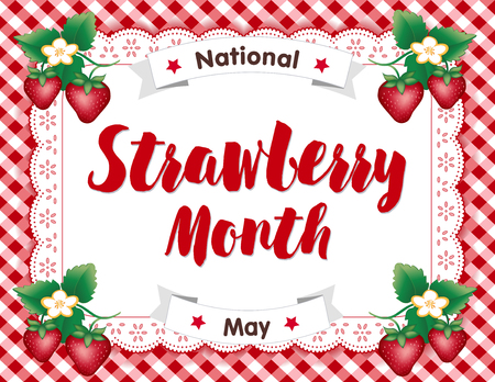 Strawberry Month, celebrated each May in USA, juicy fruits in flower on white eyelet lace doily place mat on red gingham check background.