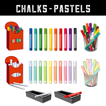 Chalks and Pastel Crayons set